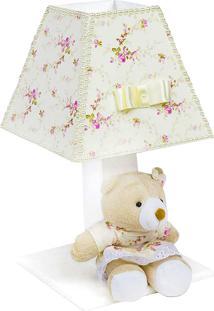 Abajur Ursa Floral Com Pérolas Mdf - Rosa - Ursinhos