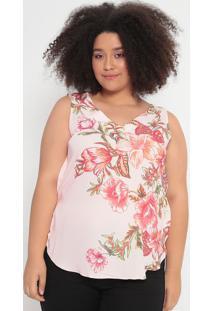 Blusa Floral Com Recortes- Rosa Claro & Laranja- Cotcotton Colors Extra