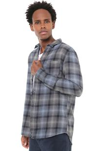 Camisa Quiksilver Slim Fatherfly Azul/Cinza