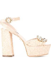 Dolce & Gabbana Sandália Plataforma De Renda - Neutro