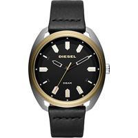 9e185c11fae Relógio Diesel Analógico Aço Couro Masculino - Masculino-Preto+Dourado