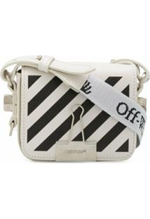 Off-White Bolsa Diagonal Binder Clip Mini - Branco