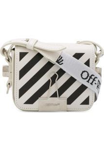 Off-White Bolsa Diagonal Binder Clip Mini - Branco