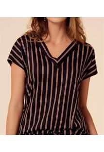 Camiseta Liz Easywear Listrada Feminina - Feminino-Listrado