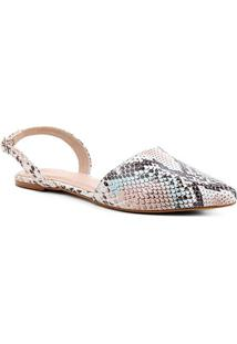 Sapatilha Couro Shoestock Slingback Cobra Feminina - Feminino-Colorido