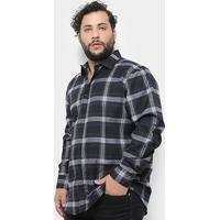 58520dbc5 Camisa Xadrez Delkor Plus Size Masculina - Masculino-Preto