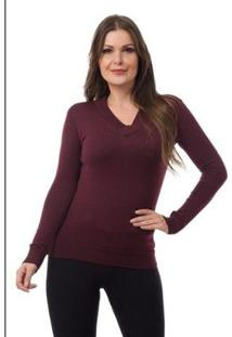 Blusa Pink Tricot Malhas Gola V Feminina - Feminino
