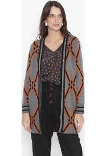 Casaco Em Tricô Geométrico Com Pedrarias - Cinza Escuro Wool Line