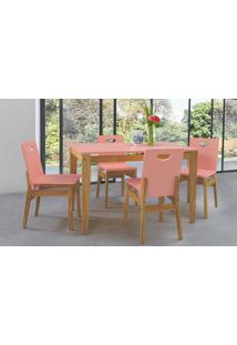 Sala De Jantar Com Mesa E 4 Cadeiras Tucupi 120Cm - Acabamento Stain Nózes E Rosa Coral