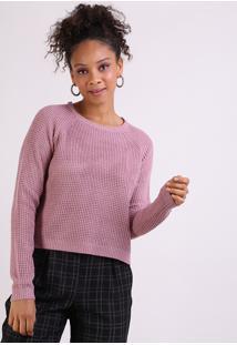Suéter Feminino Em Tricô Decote Redondo Rosa Escuro
