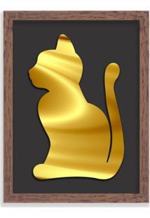 Quadro Decorativo Em Relevo Espelhado Gato Dourado Madeira - Médio