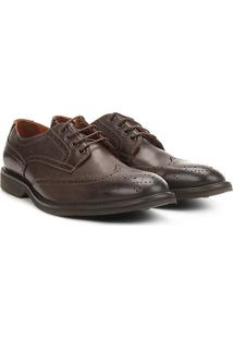 Sapato Social Couro Richards Brogues - Masculino-Marrom