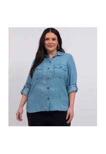 Camisa Liocel Com Bolsos Curve & Plus Size | Ashua Curve E Plus Size | Azul | Eg