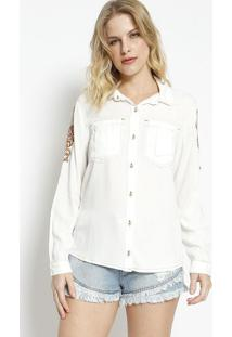 Camisa Bordada- Branca & Marrom Claro- Charrycharry
