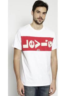Camiseta Com Recortes & Inscriã§Ã£O- Branca & Vermelhalevis