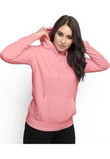 Moletom Feminino Liso Abrigo Inverno Blusa Casaco Com Capuz - Feminino-Rosa