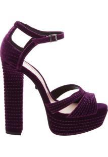 Sandália Meia Pata Veludo Seam Purple | Schutz