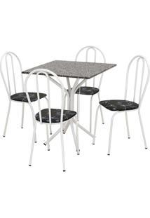 Conjunto De Mesa Thais Com 4 Cadeiras Branca Preto Flor