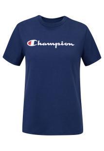 Camiseta Champion Script Logo Ink - Feminina - Azul Escuro