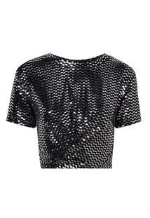 Camiseta Rosa Chá Debora Malha Preto Feminina (Preto E Prata, G)