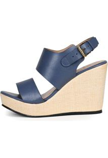 Anabela Balaia Em Couro Jeans Mod191 Azul