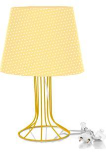 Abajur Torre Dome Amarelo/Bolinha Com Aramado Amarelo