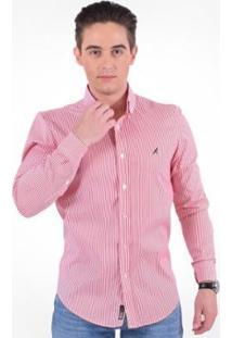 Camisa Social Listrada Masculina - Slim - Masculino-Vermelho