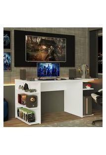 Mesa Para Computador Gamer E Painel Para Tv Até 50 Madesa Branco/Preto Branco