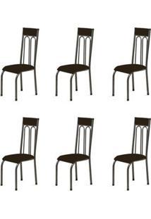 Kit 6 Cadeiras Anatômicas 0.120 Estofada Craqueado/Tabaco - Marcheli