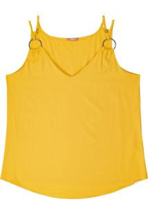 Blusa Alça Dupla Com Decote V Amarelo