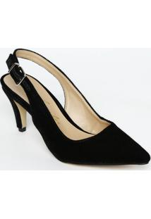 Sapato Chanel Com Fivela & Ajuste - Preto - Salto: 8Luiza Barcelos