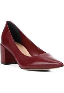 Scarpin Couro Shoestock Salto Médio Basic - Feminino-Vinho