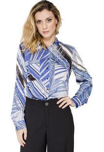 Camisa Print Folhagens Alphorria Feminina - Feminino-Azul