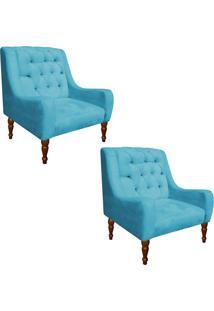 Dafiti. Kit 02 Poltrona Decorativa Maia Suede Azul Tiffany - D Rossi 8f73368468