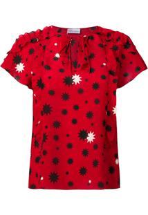Red Valentino Blusa Com Estampa Contrastante - Vermelho