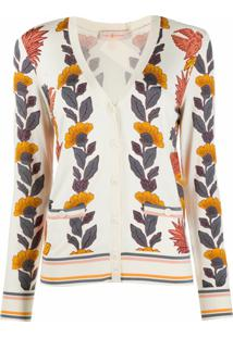 Tory Burch Cardigan Com Estampa Floral - Branco