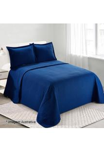 Conjunto De Colcha Loft Queen Size- Azul Escuro- 3Pçcamesa
