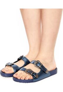 Rasteira Birken Dafiti Shoes Fivelas Azul