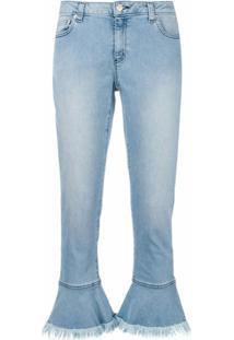 Michael Michael Kors Calça Jeans Com Franjas Na Bainha - Azul