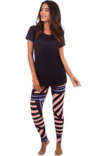Pijama Feminino Longo Abstract Com Calça Legging Inspirate - Feminino-Preto