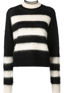 Proenza Schouler White Label Suéter Cropped Listrado De Lã Mohair - Preto