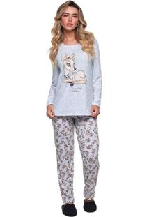 Pijama Longo De Inverno Rena Feminino Adulto Luna Cuore