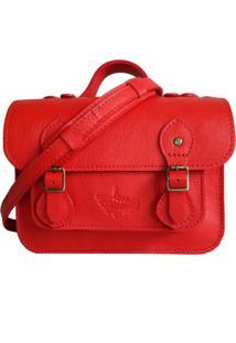 Bolsa Line Store Leather Satchel Mini Couro Vermelho. - Vermelho - Feminino - Dafiti