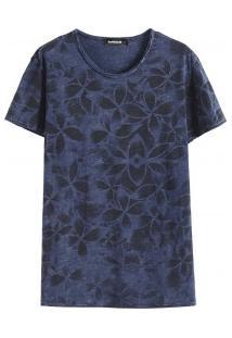 Camiseta Masculina Com Estampa Floral - Azul Marinho