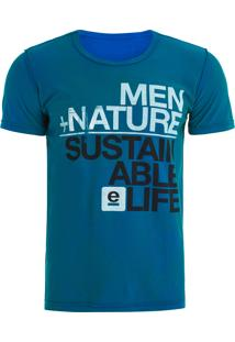 Camiseta Masculina Watercolour Nature Sustainable - Azul
