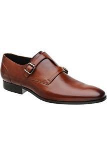 Sapato Social Monk Malbork Couro Masculino - Masculino-Caramelo
