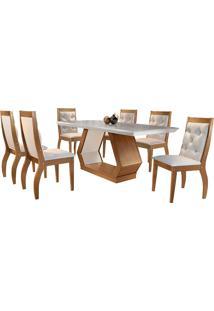 Conjunto De Mesa Para Sala De Jantar Com 6 Cadeiras Ibis/Agata-Rufato - Veludo Creme / Off White / Imbuia