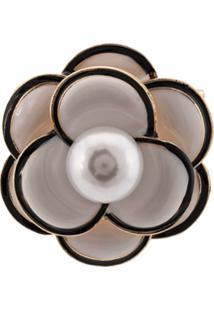 Edward Achour Paris Broche Em Forma De Flor - Branco