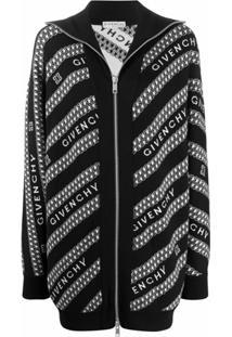 Givenchy Cardigan Com Zíper E Logo - Preto