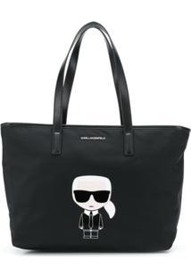 Karl Lagerfeld Bolsa Tote Karl Mini Com Estampa - Preto
